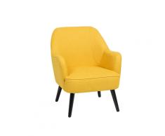 Poltrona da soggiorno imbottita in tessuto giallo - LOKEN
