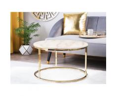 Tavolino Effetto Marmo Bianco con color Oro CORAL