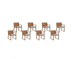 Set di 8 sedie da giardino in legno marrone chiaro cuscino a strisce blu SASSARI