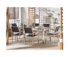 Set tavolo da giardino effetto legno 180 cm e 6 sedie tessuto nero GROSSETO