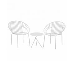 Set da balcone in metallo bianco tavolo e 2 sedie LICATA