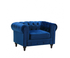 Poltrona vintage in tessuto vellutato blu CHESTERFIELD