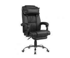 Sedia da ufficio ergonomica in pelle sintetica nera LUXURY