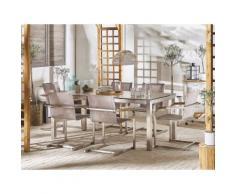 Set tavolo da giardino effetto legno 180 cm e 6 sedie fibre sintetiche beige GROSSETO