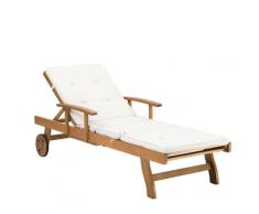 Lettino giardino legno acacia alta qualità e cuscino crema 180cm JAVA