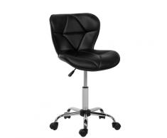 Sedia sgabello da ufficio con rotelle in pelle nera VALETTA