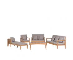 Set da giardino 7 posti in legno certificato cuscini grigi inclusi PATAJA