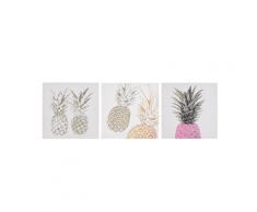 Set di 3 stampe su tela rosa e oro 30 x 30 cm APESIKA