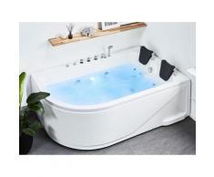 Vasca idromassaggio bianca angolare con LED 180 cm versione sinistra CALAMA