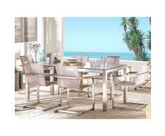 Set tavolo da giardino effetto cemento 180 cm e 6 sedie fibre sintetiche beige GROSSETO