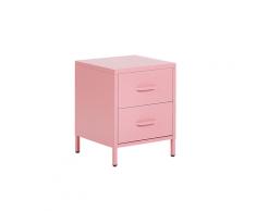Comodino rosa in acciaio cromato 2 cassetti MALAVI