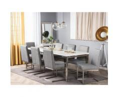 Tavolo da pranzo con struttura in acciaio e piano bianco 220x90cm ARCTIC II