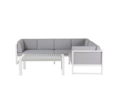 Divano angolare da giardino con tavolino in alluminio bianco CASTELLA