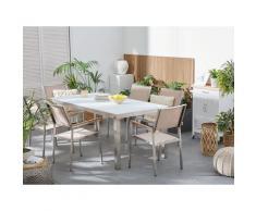 Set tavolo e sedie da giardino - In vetro temperato bianco e fibra tessile beige - tavolo 180 con 6 sedie - GROSSETO