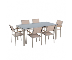 Set tavolo e sedie da giardino - In vetro temperato nero e fibra tessile beige - tavolo 180 con 6 sedie - GROSSETO