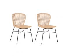 Set di 2 sedie da pranzo in rattan color naturale ELFROS