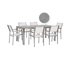 Set tavolo da giardino effetto cemento 180 cm e 6 sedie tessuto bianco GROSSETO