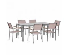 Set tavolo da giardino effetto marmo 180 cm e 6 sedie tessuto beige GROSSETO