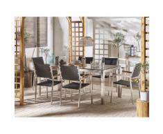 Set tavolo da giardino effetto cemento 180 cm e 6 sedie rattan nero GROSSETO