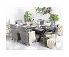 Set da giardino grigio con tavolo e 6 sedie CASCAIS