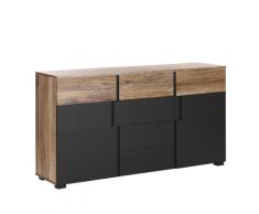 Credenza con 4 cassetti in nero e legno chiaro STERLING