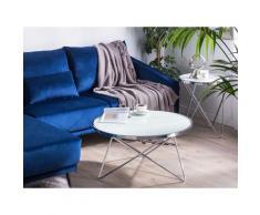 Tavolino da caffè bianco con gambe color argento MERIDIAN II