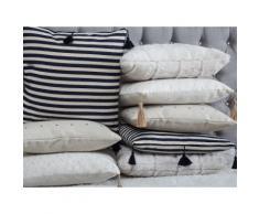 Cuscino decorativo a righe con frange 45 x 45 cm bianco/blu scuro