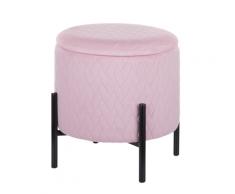 Sgabello in velluto rosa con contenitore WENONA