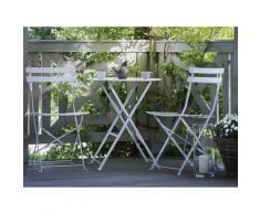 Set di 2 sedie e tavolino da caffè in acciaio bianco FIORI