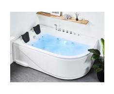 Vasca idromassaggio bianca angolare con LED 180 cm versione destra CALAMA