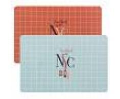 Maisons du Monde Tovaglietta blu e rosa con motivi a mattonelle con stampa (x2)
