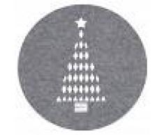 Maisons du Monde Tovaglietta rotonda grigia con stampa albero di Natale