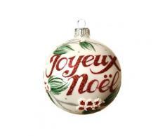 Confezione di 6 palline di Natale (Ø80 mm) Joyeux Noël Bianco