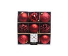 Confezione di 9 palline di Natale Miste Rosso