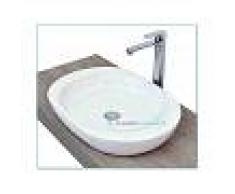 Lavabo D'Appoggio Ceramica Bianco 59x42x9.5 Cm Modello Smooth