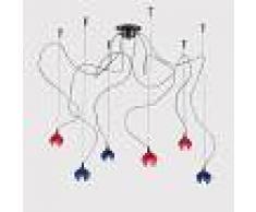 Vetro Di Murano Blu E Rosso 6 Luci London - Lampade A Sospensione