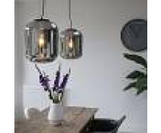 QAZQA Set 2 lampade a sospensione BLISS nera con vetro affumicato nero