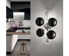 Metal Lux Light snc Atom Applique Plafoniera Moderna Cromo Design 2 Luci A Sfera In Cristallo