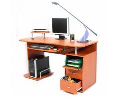 Scrivania Porta Pc 140x60xh77cm In Legno Con Cassettiera E Portatastiera My Office Scanner Ciliegio