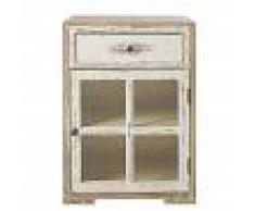 Maisons du Monde Comodino a un'anta e 1 cassetto in legno massello di pino bianco e vetro Kinfolk