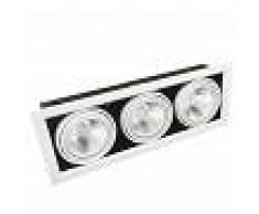 Silamp Portafaretto AR111 Orientabile 3x20w Completa di 3 Faretti LED Ghiera Silamp