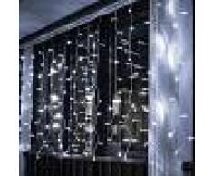 Silamp Ghirlanda a tenda 14 pendenti 140 led IP44 luce Bianca 3 metri GHI-140LED-WH