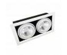 Silamp Portafaretto AR111 Orientabile 2x20w Completa di 2 Faretti LED Ghiera Silamp
