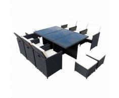 Set Tavolo E 6 Sedie Da Giardino In Alluminio E Rattan Sintetico 4 Poggiapiedi E Cuscini Nero Miozzi