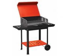 Barbecue A Carbone Carbonella In Acciaio Con Ruote Bauer Vanessa Rosso E Nero