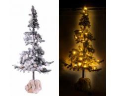 Albero Di Natale Luminoso Con Led E Pigne In Pvc H143cm Adami Juta Verde Innevato