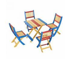 Set Tavolino E 4 Sedie Pieghevoli Da Giardino Per Bambini In Legno Di Abete Colorato Miozzi