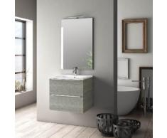 Mobile Da Bagno Sospeso Con Lavabo Specchio E Lampada A Led Tft Luna Grigio Rè Di Londra