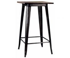 Tavolino Da Bar In Metallo Top Legno Adami Bristol Marrone