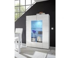 Vetrina Mobile Soggiorno 2 Porte In Melamina 121x42x166cm Tft Chequers Bianco